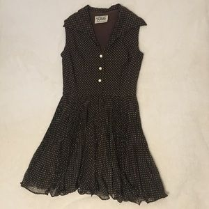 VINTAGE Miss Elliette California Polka Dot Dress